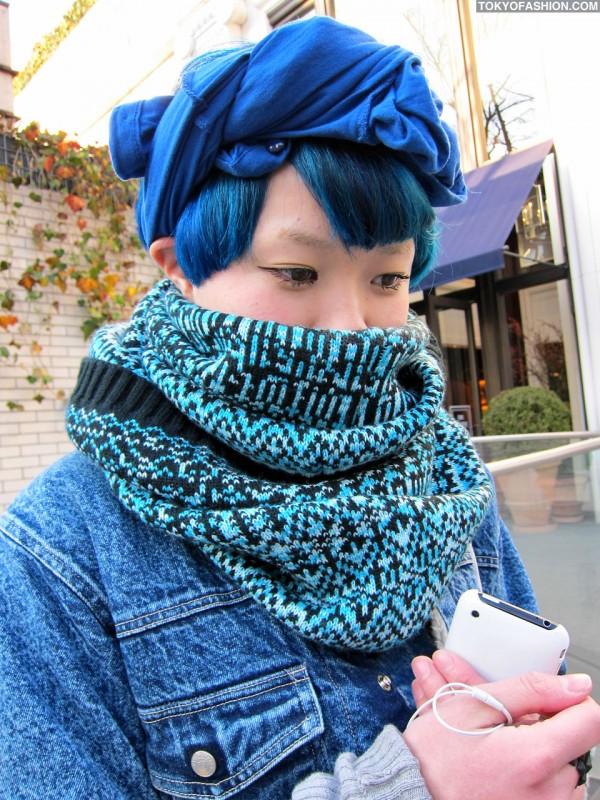 Pretty Japanese Girl With Blue Hair