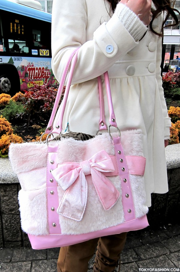 Pink and White Purse With Bow