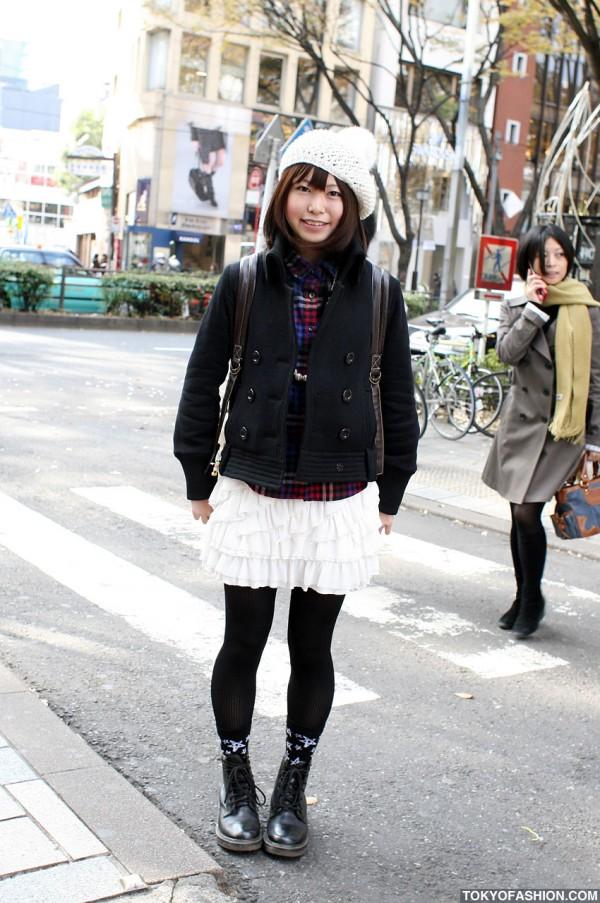Japanese Girl in ValenTine's High Skirt in Harajuku