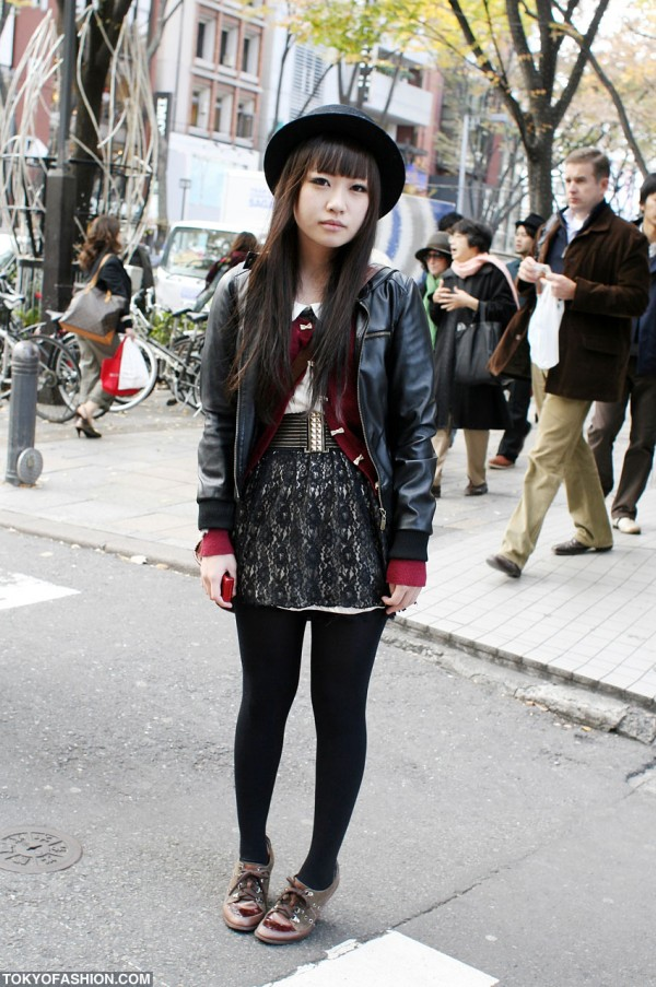 Japanese Girl in Leather Bomber Jacket