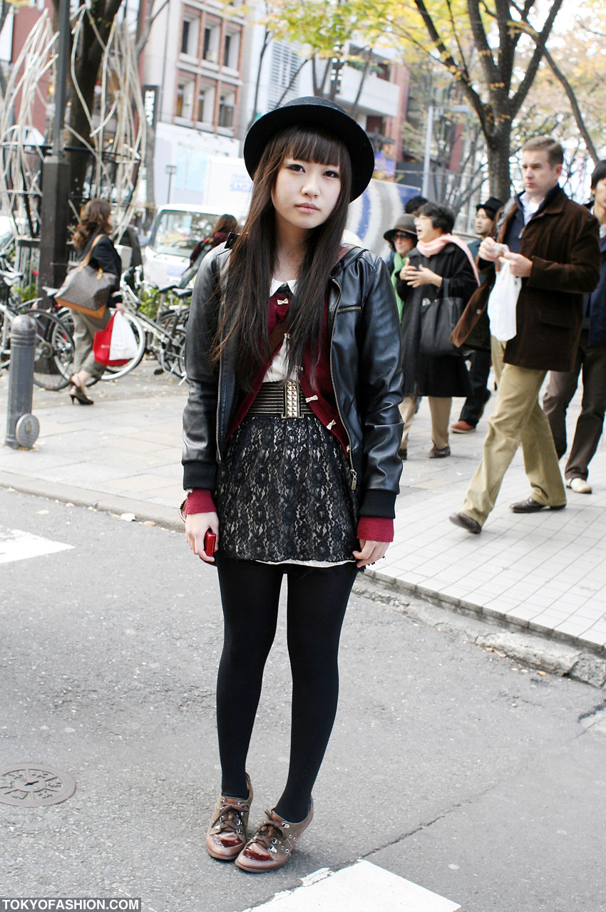 Japanese Girl In Leather Bomber Jacket U0026 Lace Skirt