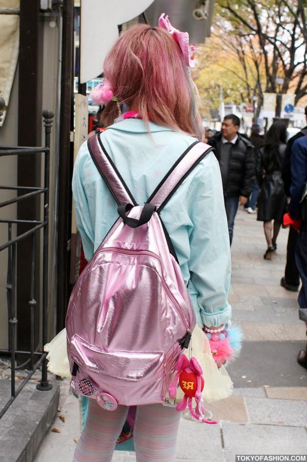 Shiny Pink Backpack in Harajuku