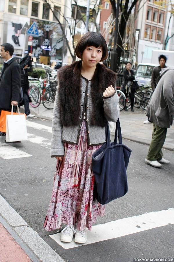 Japanese Bob Hairstyle & Ankle Length Skirt