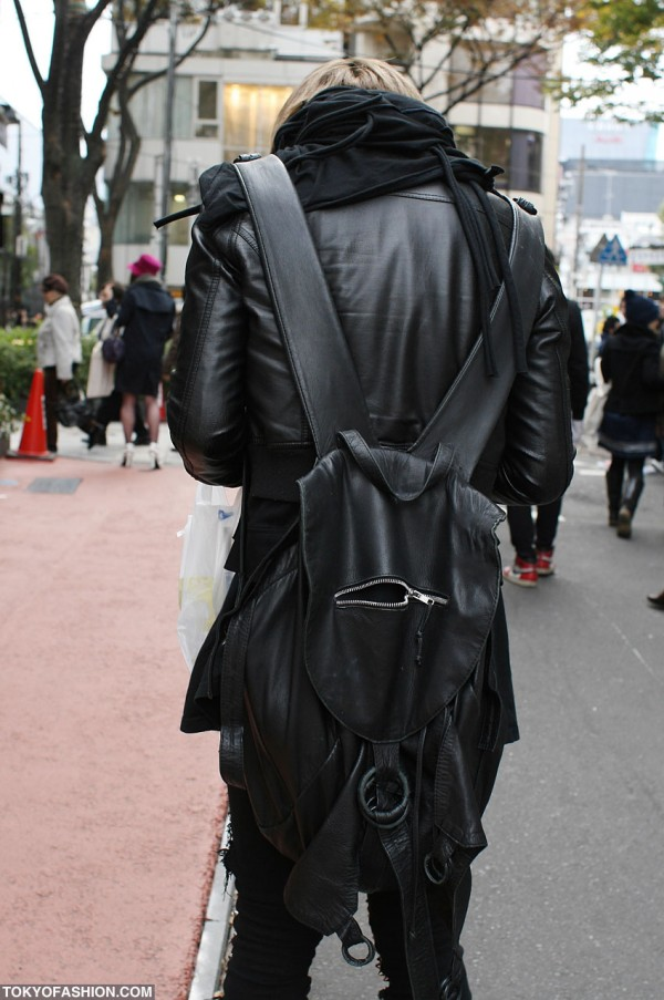 Cool Black Leather Backpack