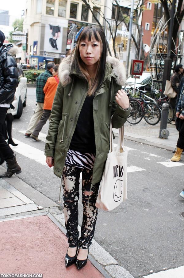 Girl in Miltary Coat in Harajuku