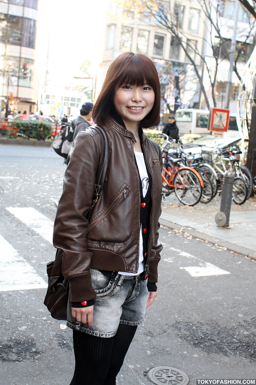 Leather Bomber Jacket & Jean Shorts in Harajuku