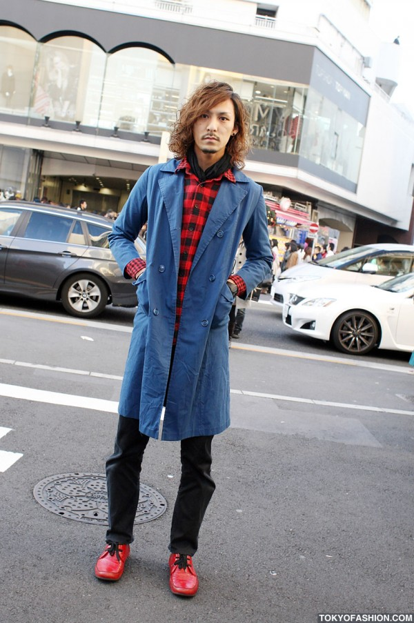 Guy in Long Blue Coat & Red Shoes in Harajuku