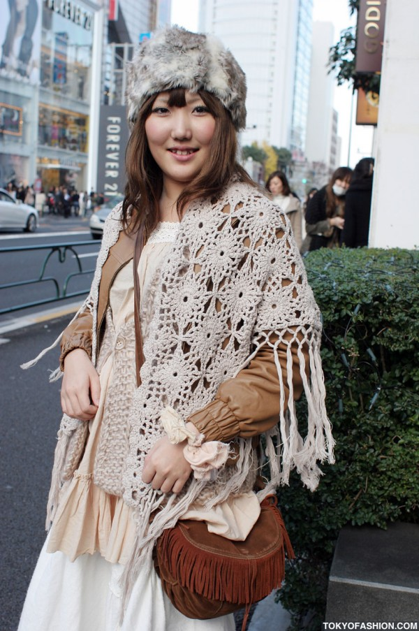 Japanese Girl in Crocheted Scarf