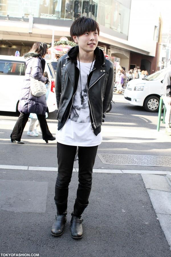 Japanese Guy in Leather Biker Jacket