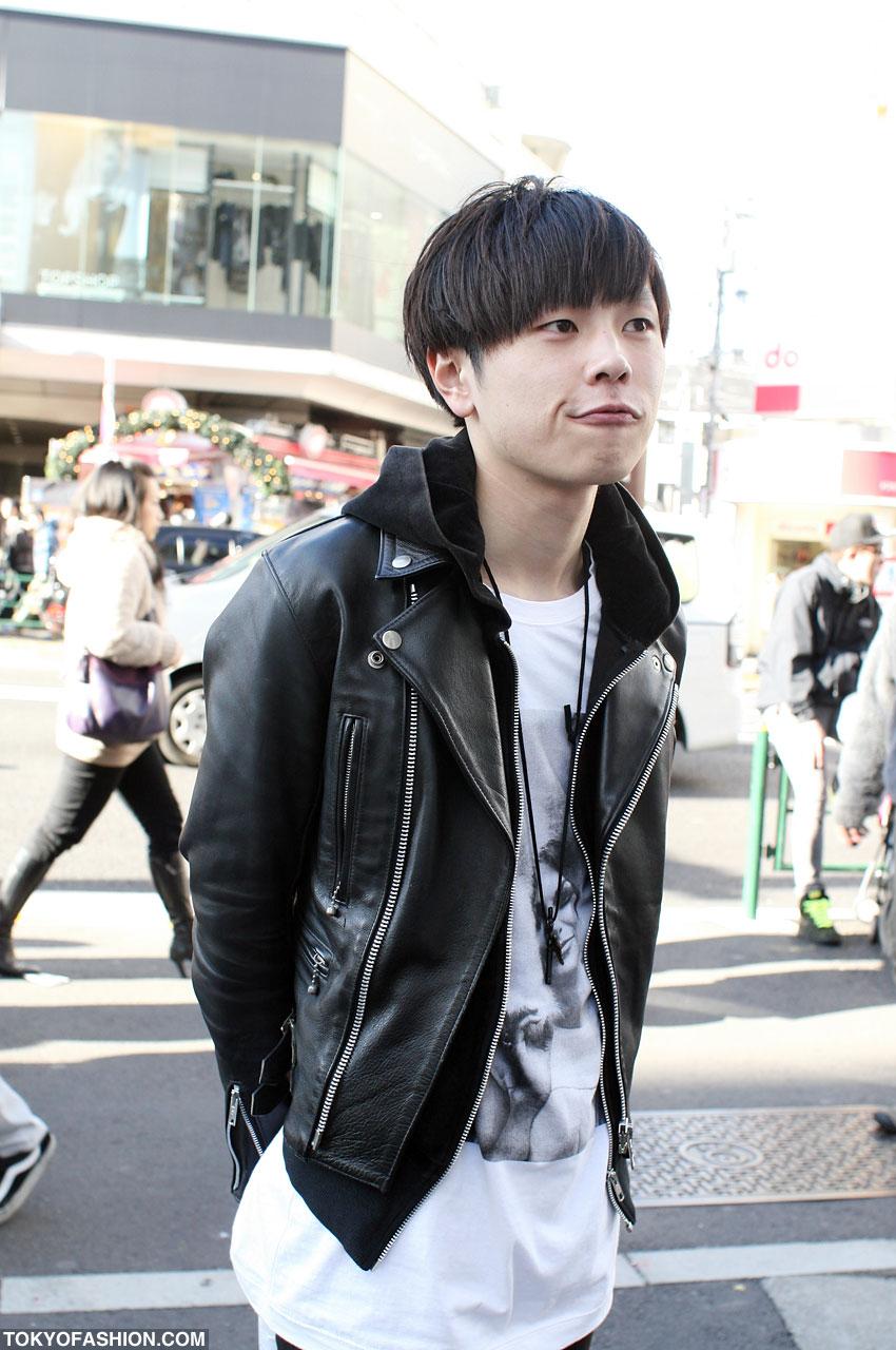 Japanese Guy in 666 Motorcycle Jacket in Harajuku