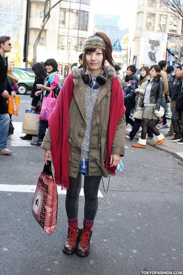 Retro Girl Mods Coat & Glitter Leggings in Harajuku