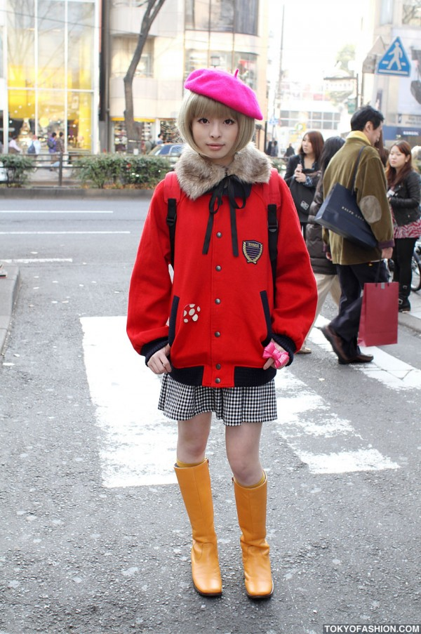 Pink Beret & Red Jacket in Harajuku