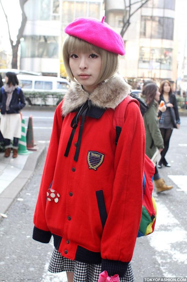 Cute Japanese Bob Hairstyle Amp Pink Beret In Harajuku