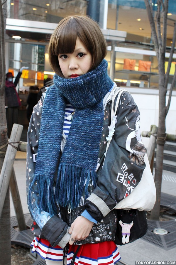 Japanese Girl Bob Hairstyle in Harajuku
