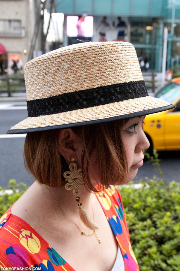 Japanese Girl in Straw Hat