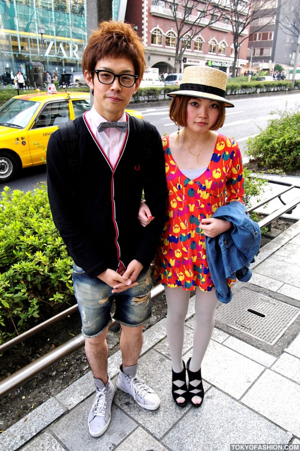 Straw Hat, Tulip Dress & YSL Sneakers in Harajuku