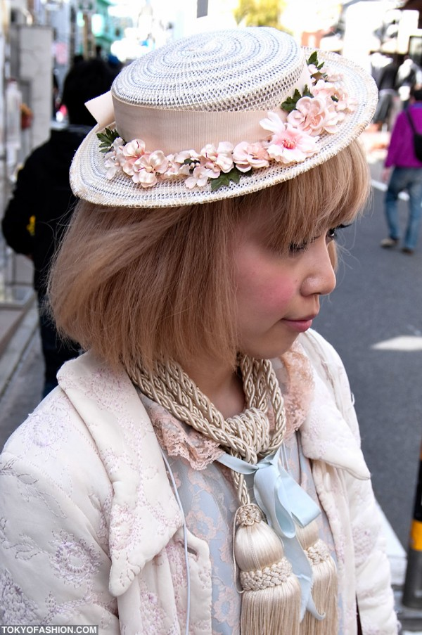 Japanese Girl in Hat With Flowers