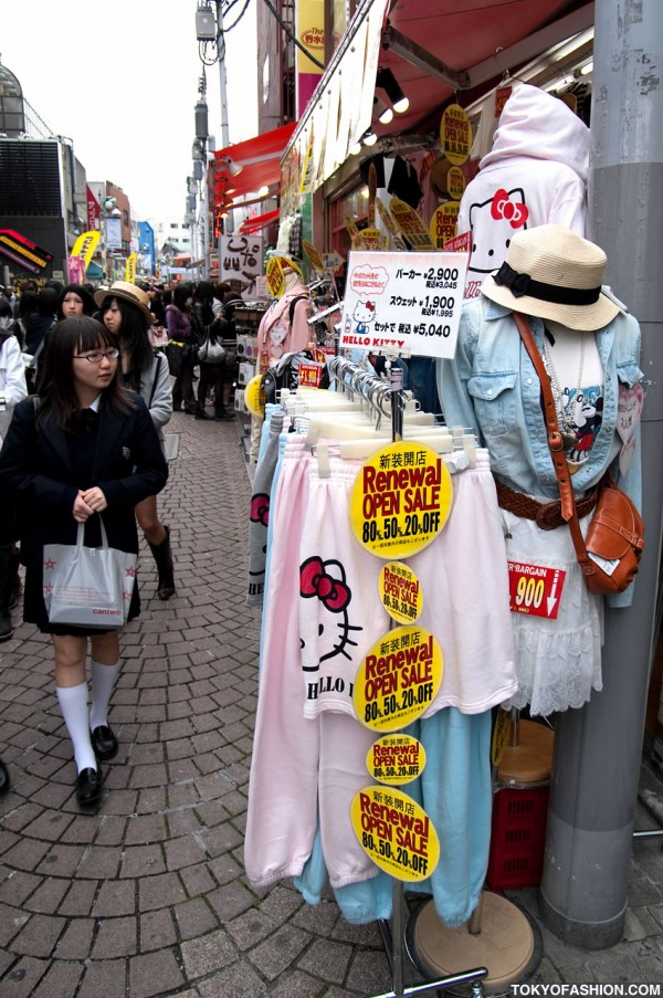 Harajuku Shop Selling Hats and Hello Kitty