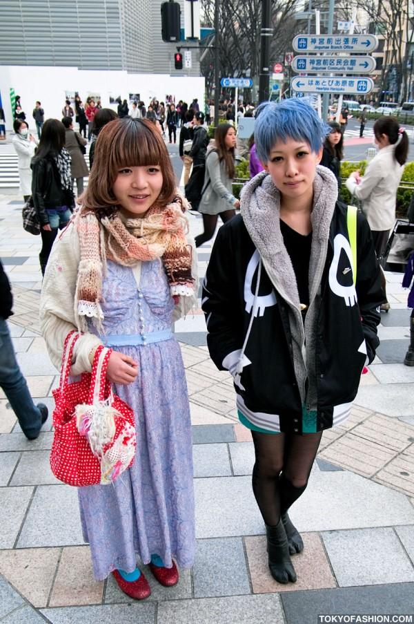Blue-Haired Japanese Girl in Nike x Cassette Playa Jacket & Martin Margiela Tabi Boots in Harajuku