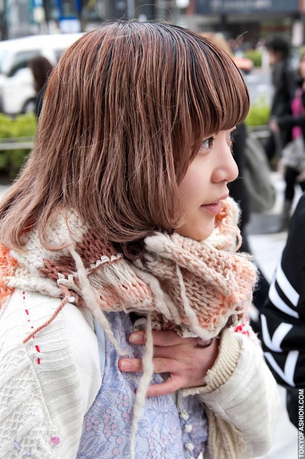 Knit Scarf & Cool Hair in Harajuku
