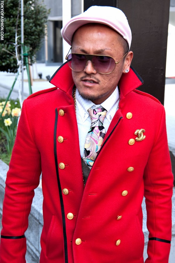 Red Blazer & Chanel Pin in Harajuku
