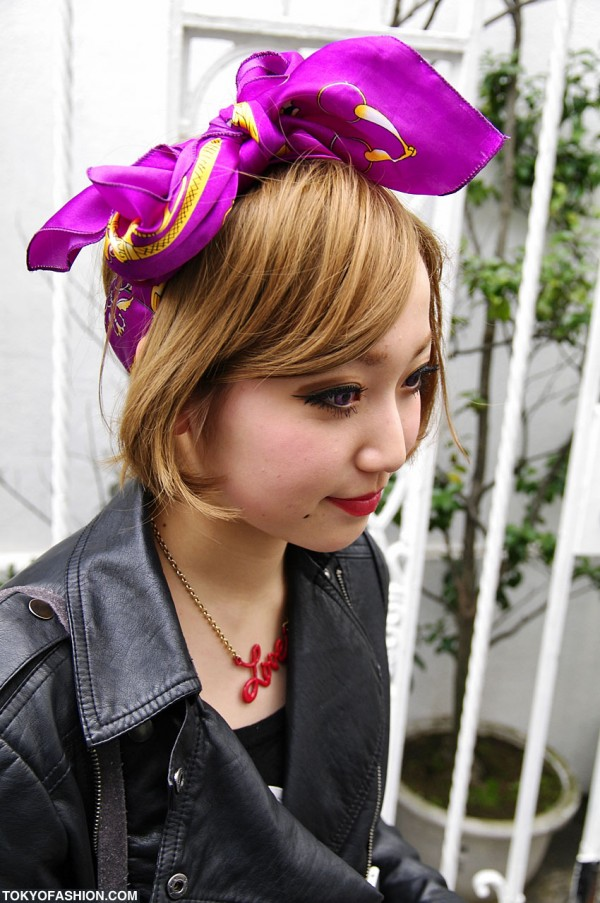 Japanese Girl & Her Purple Hair Bow