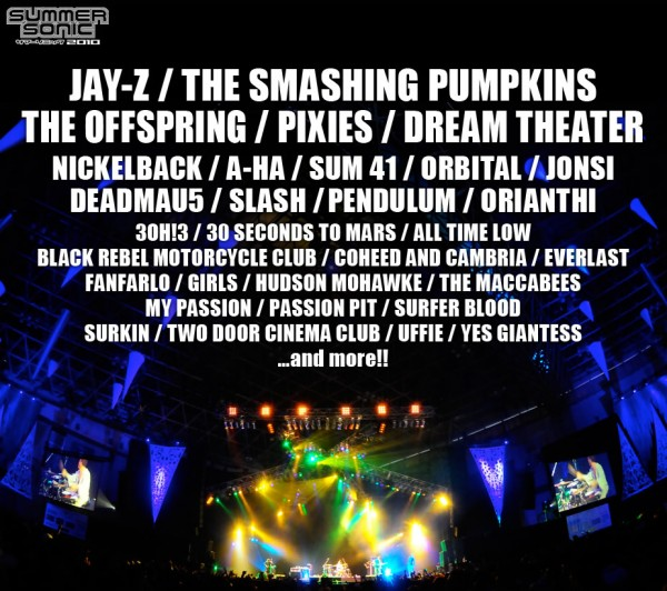 Summer Sonic 2010 Lineup – JayZ, The Smashing Pumpkins, The Pixies, The Offspring, Passion Pit