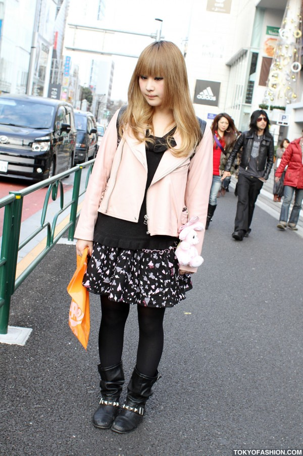 Harajuku-Cute Style Girl in Pink Leather Jacket