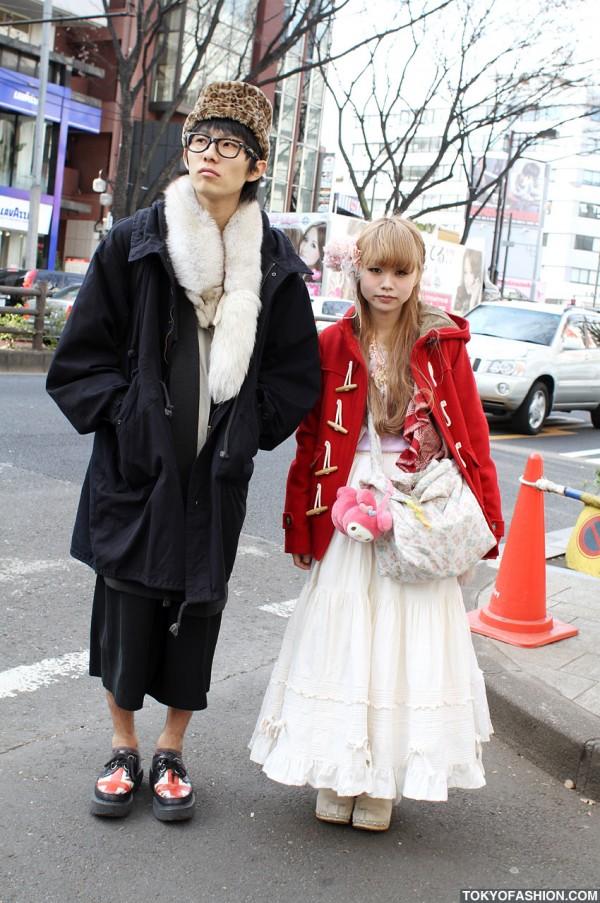 Red Duffle Coat & Leopard Print Hat in Harajuku