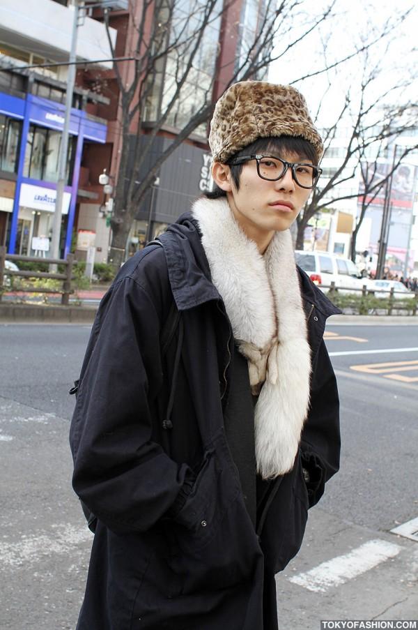Leopard Print Hat in Harajuku