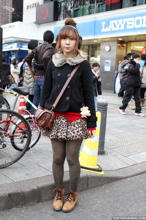 Chinatsu Wakatsuki Leopard Print Skirt in Harajuku