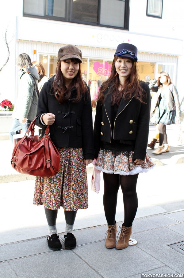 Two Smiley Japanese Girls in Hats in Harajuku