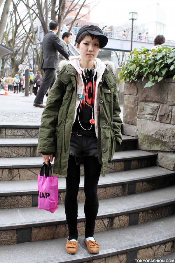 Girl in Military Coat w/ HellcatPunks Bag in Harajuku