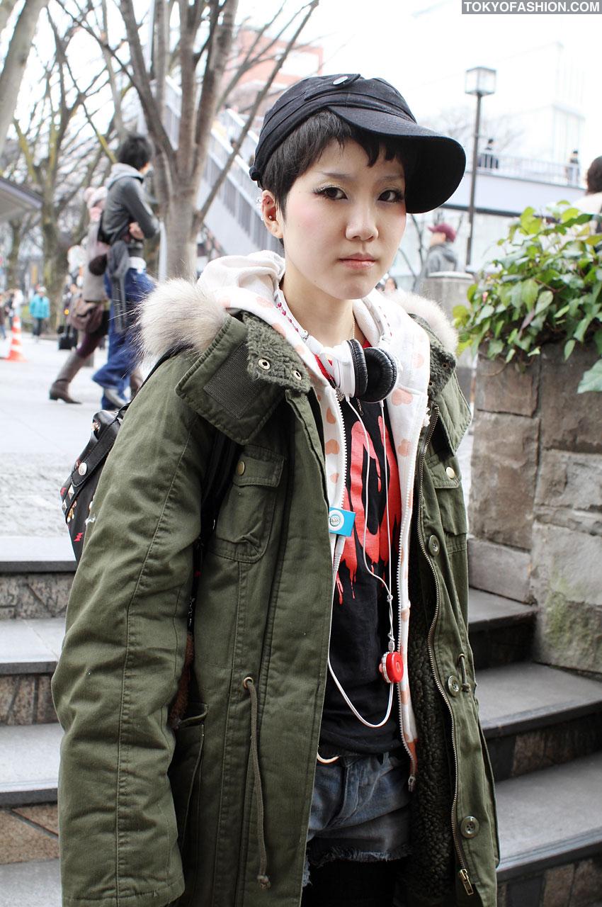 Girl In Military Coat W Hellcatpunks Bag In Harajuku