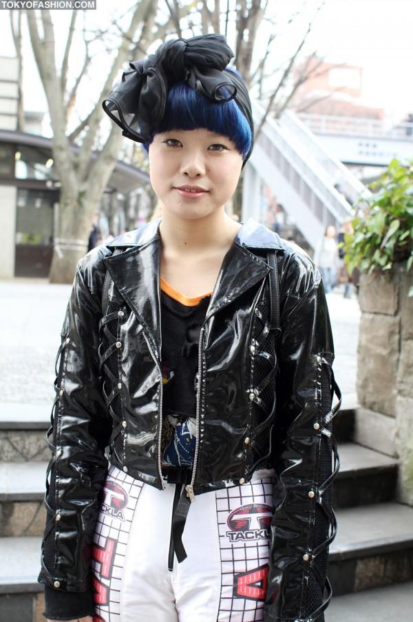 Shiny Black Jacket in Harajuku