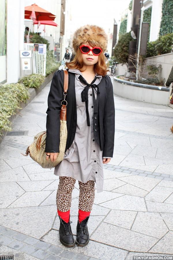 Girl in Russian Fur Hat & Lip Sunglasses in Harajuku