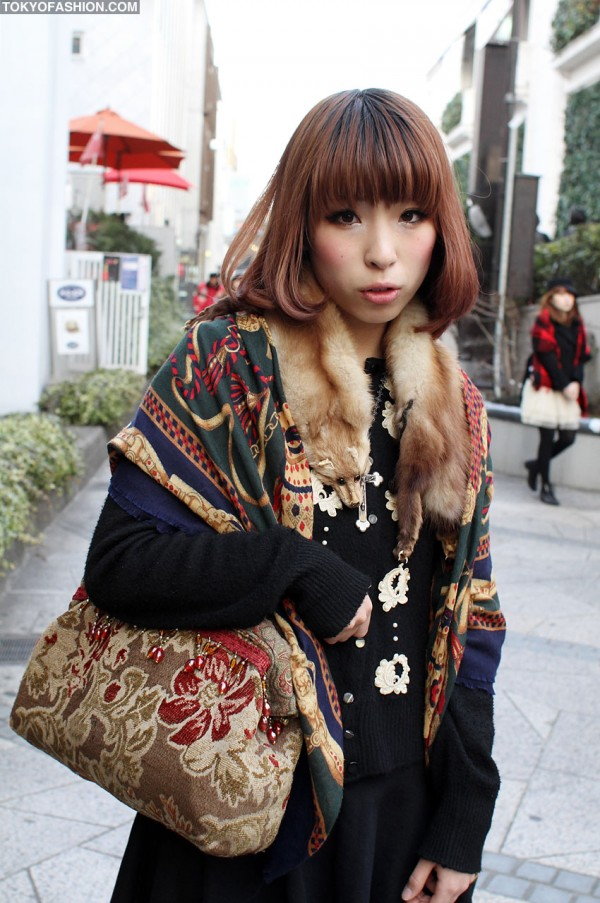 Japanese Girl with Vintage Purse