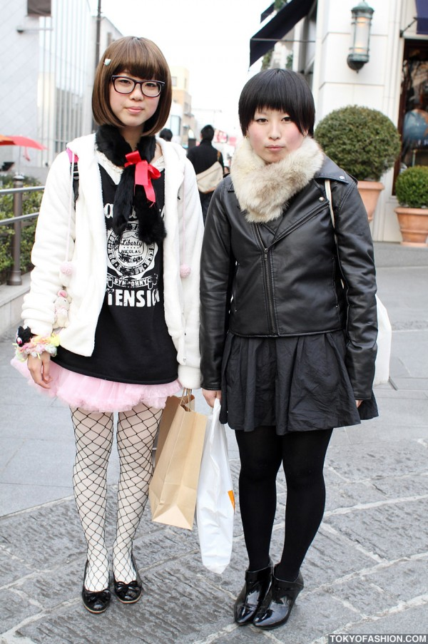 Japanese Girls in Neck Warmers & Skirts in Harajuku