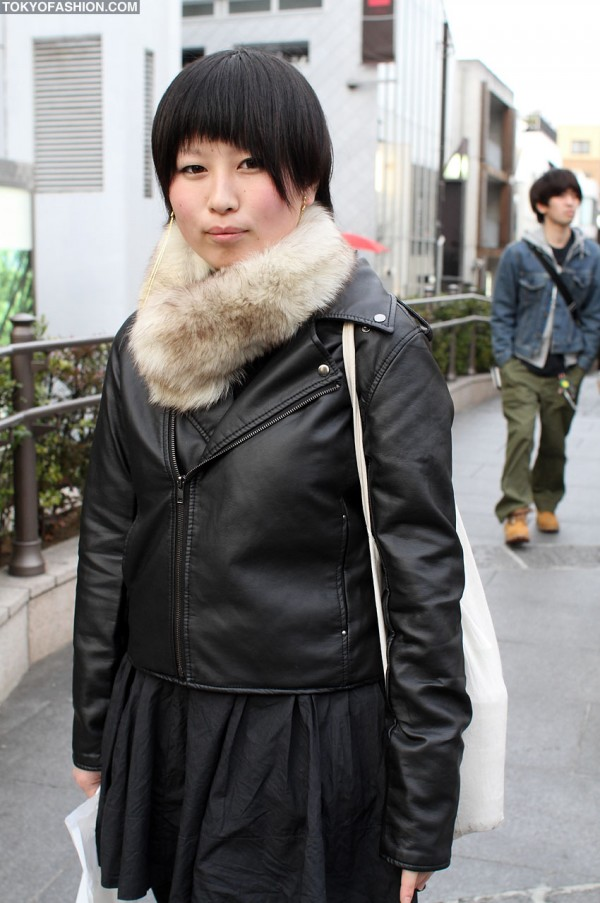 Japanese Girl in Leather Biker Jacket
