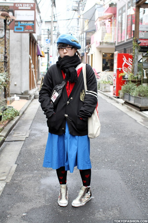 Harajuku Girl in Glasses & Safety Pin Sweater