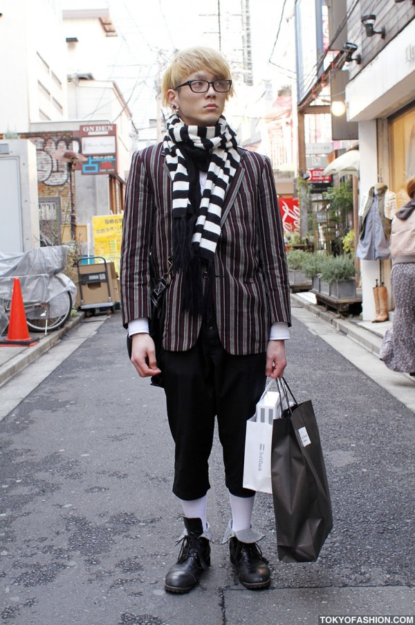 Japanese Guy in Cropped Pants & Boots in Harajuku