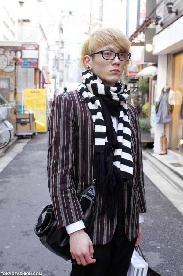 Striped Scarf & Striped Blazer