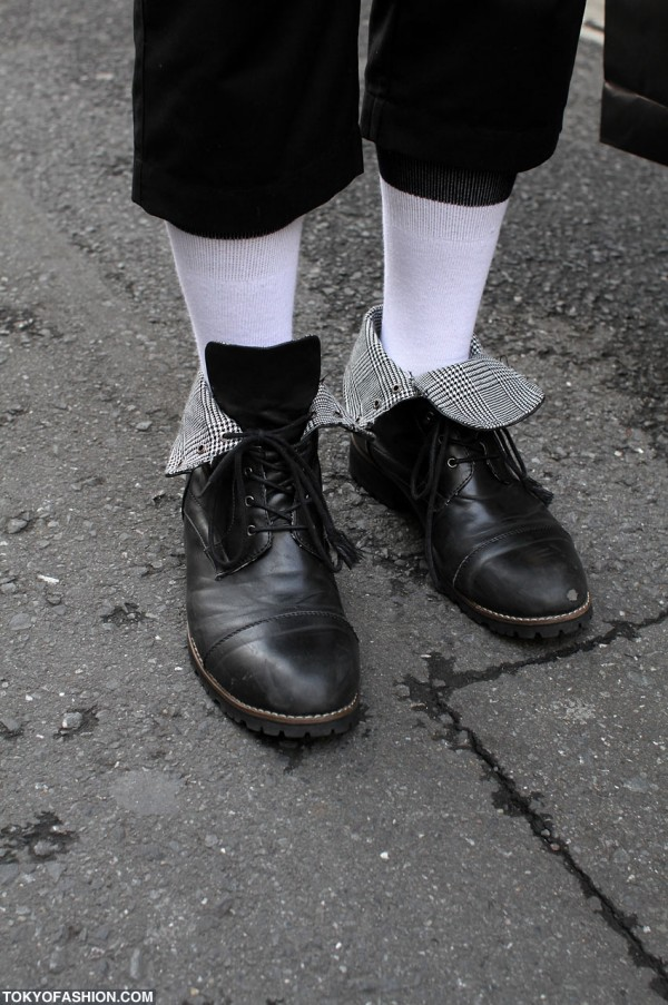 Black Leather Boots in Harajuku