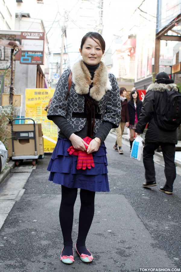 Girl in Tiered Skirt & Ballet Flats in Harajuku