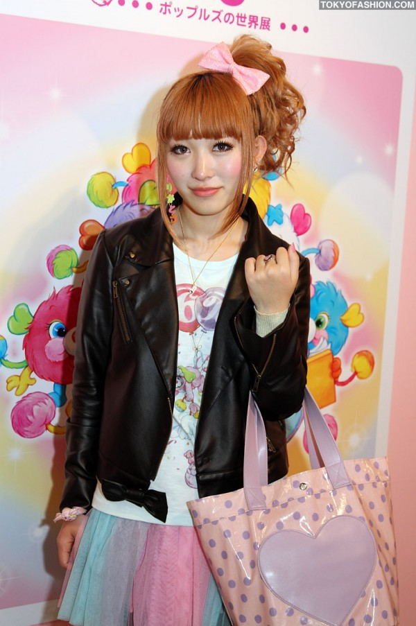 Japanese Girl in Hair Bow & Leather Jacket