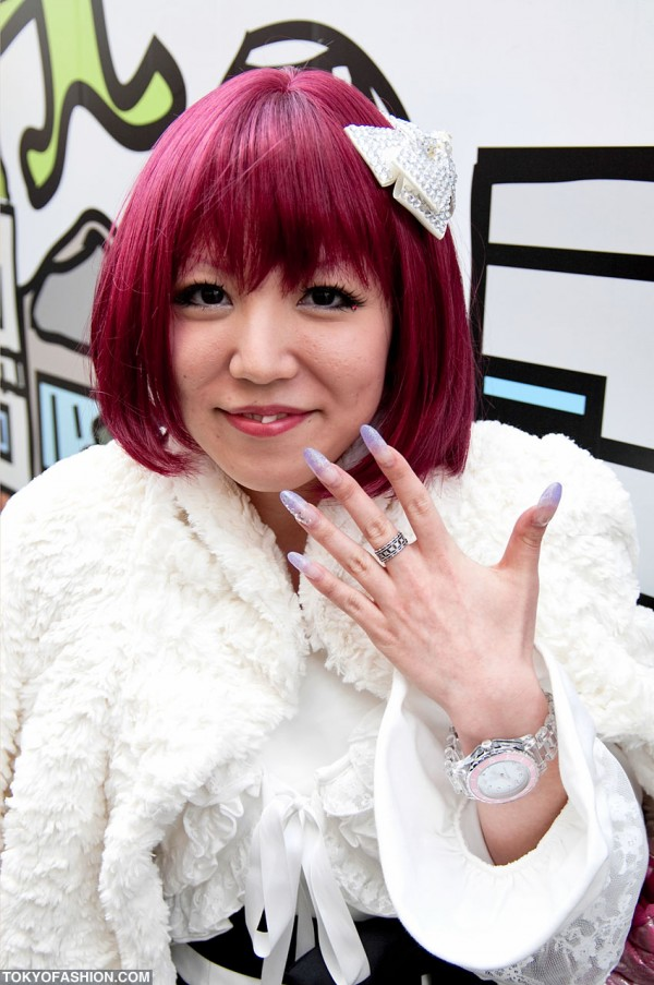 Red Hair and Purple Nails in Harajuku