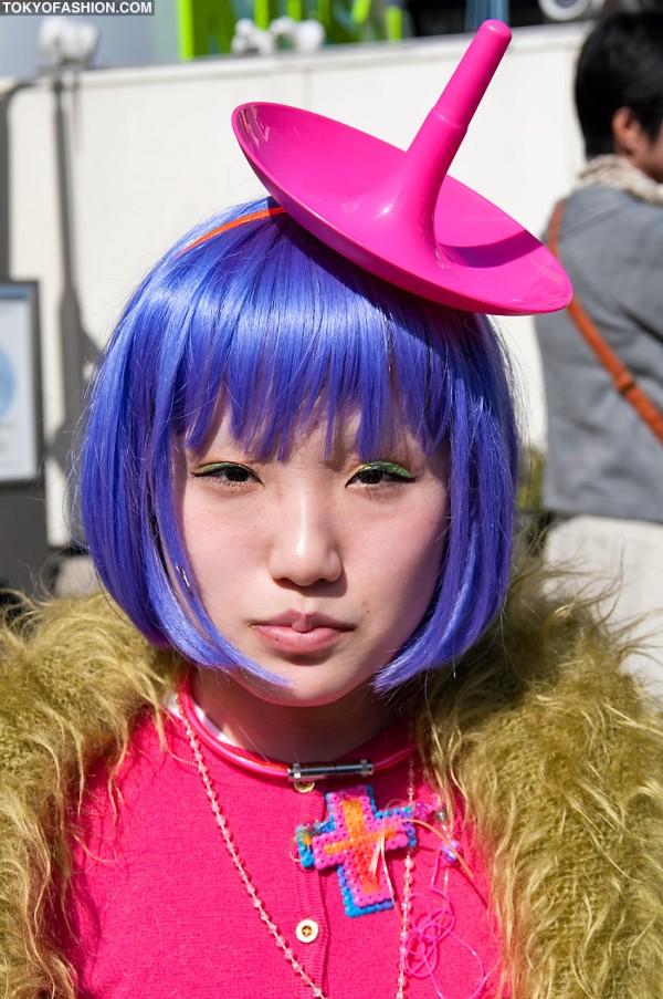 Purple Hair & Pink Hat in Harajuku