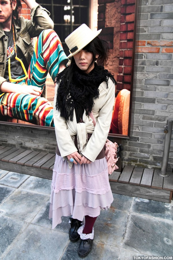 Japanese Girl in Straw Hat & Long Tiered Skirt