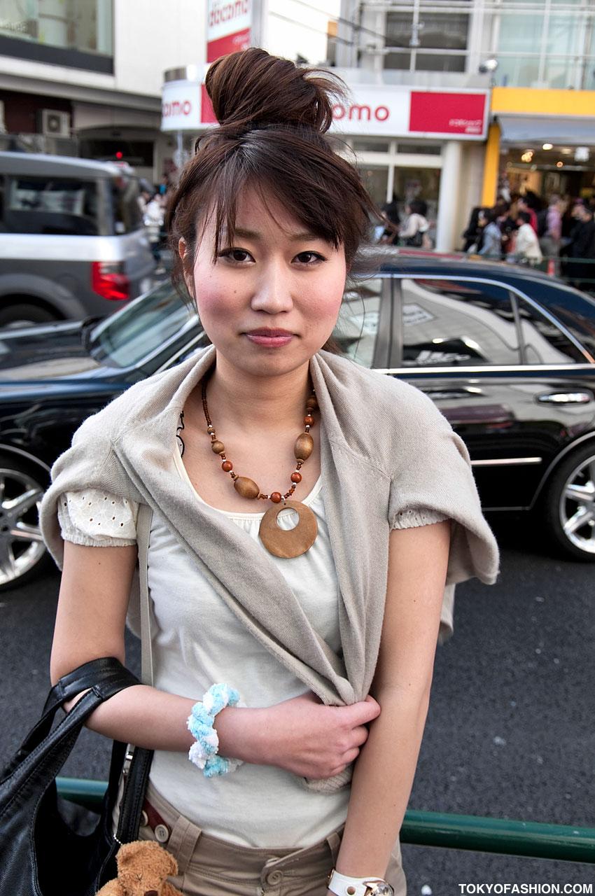 Japanese Glasses Girl Amp Large Hair Bun In Harajuku