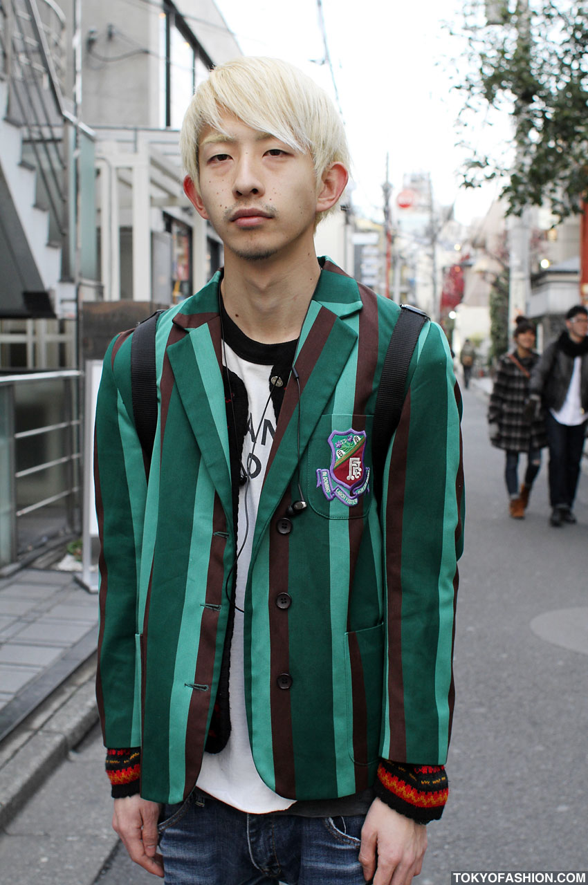 Blonde Japanese Guy In Green Striped Blazer